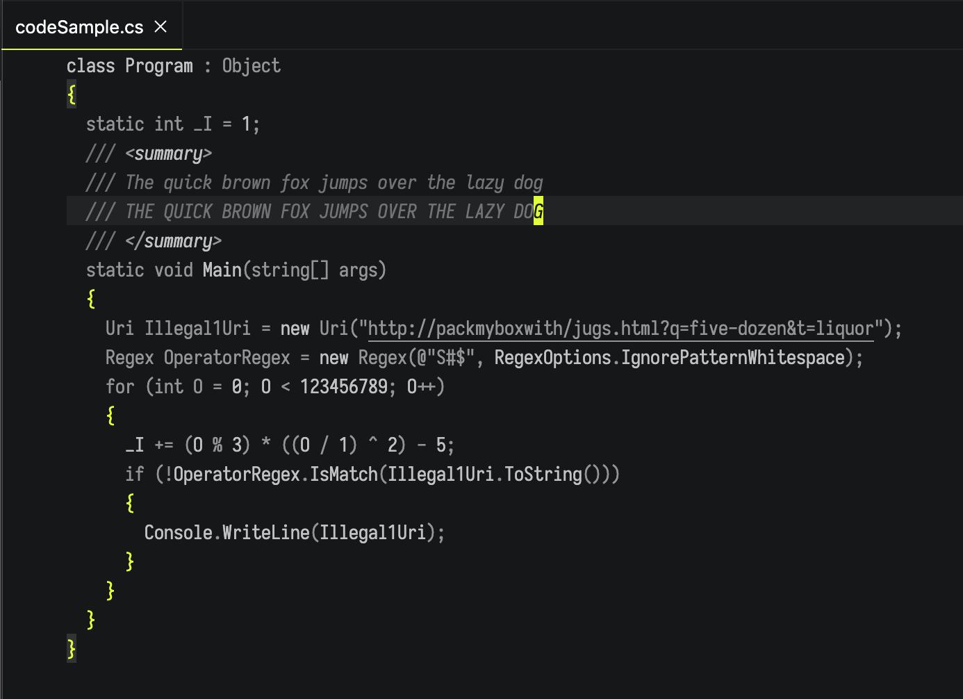 CSharp code sample