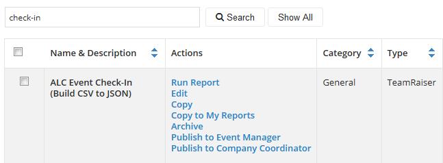 Run check-in report