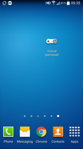 Virtual gamepad directly from the homescreen