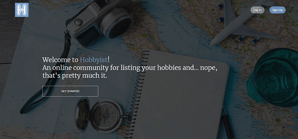 A screenshot of the Hobbyist website