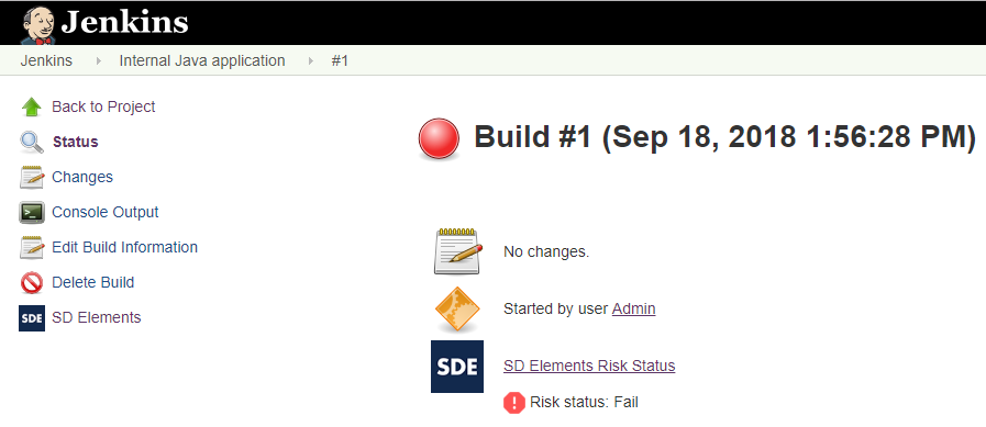 Build fails when risk status fails