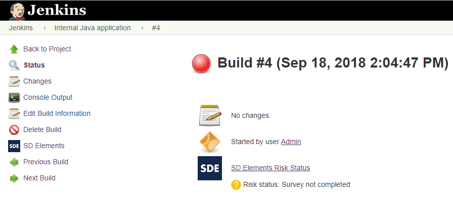 Build will fail when mandatory survey in SD Elements isn't completed