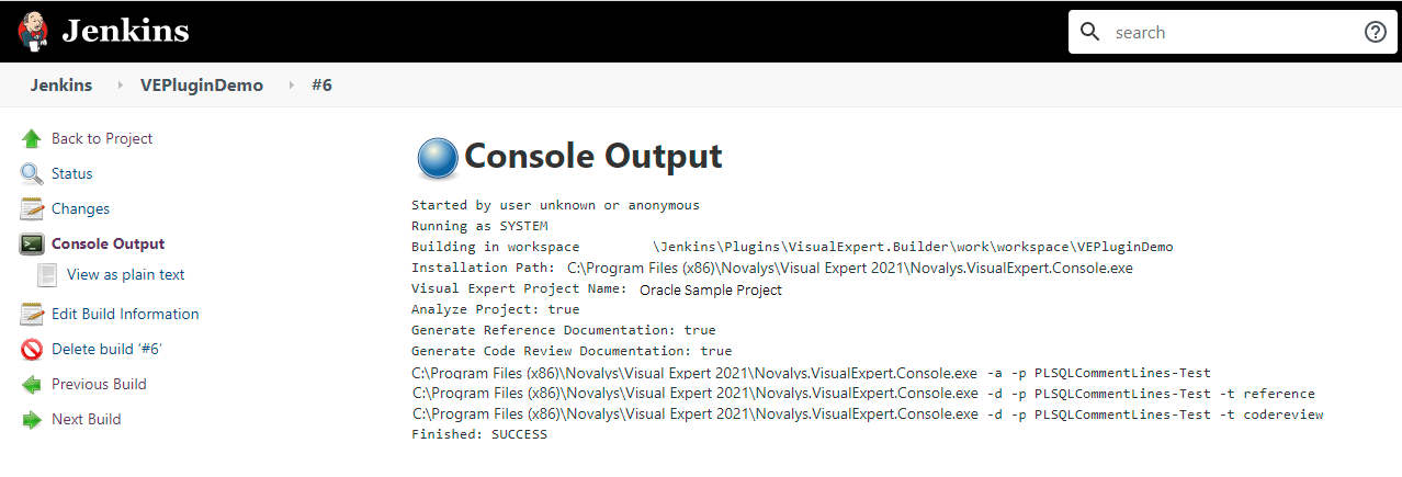 visual expert build console output