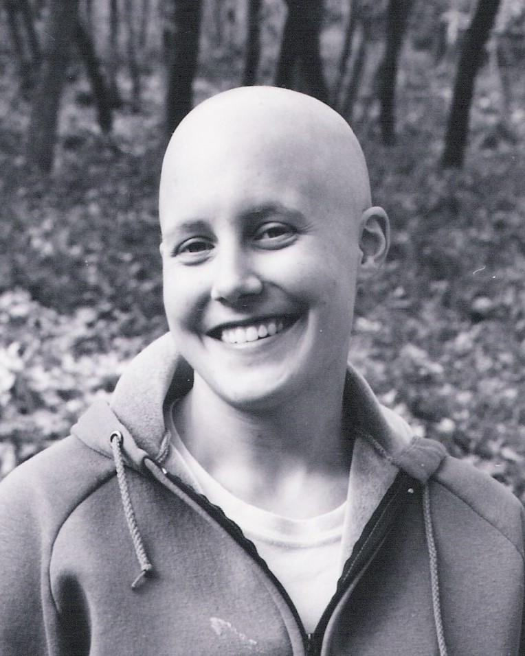 Jenny Ballif bald after chemotherapy