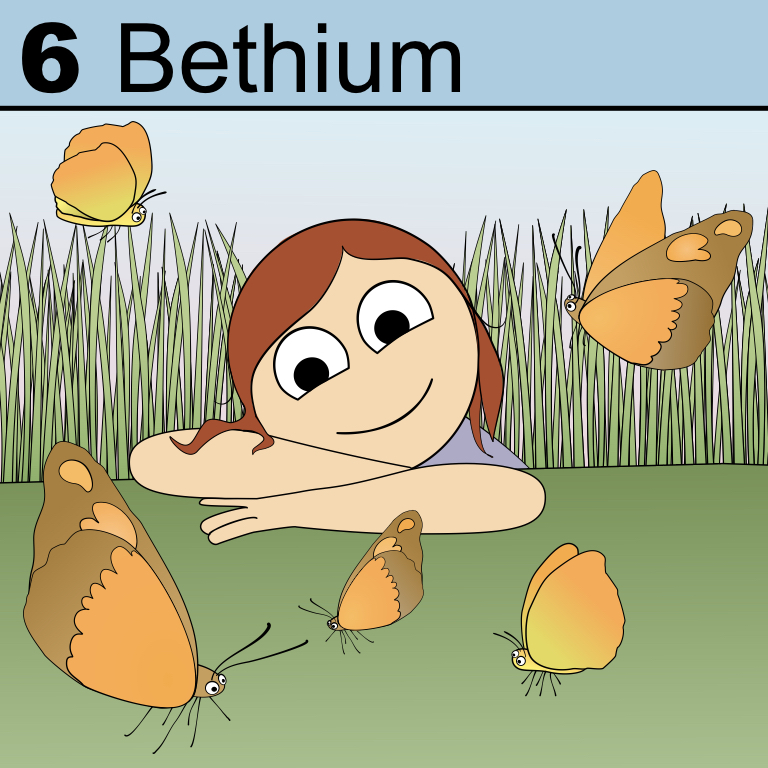Element 6 from the Periodic Tabel of Patrons: Bethium.