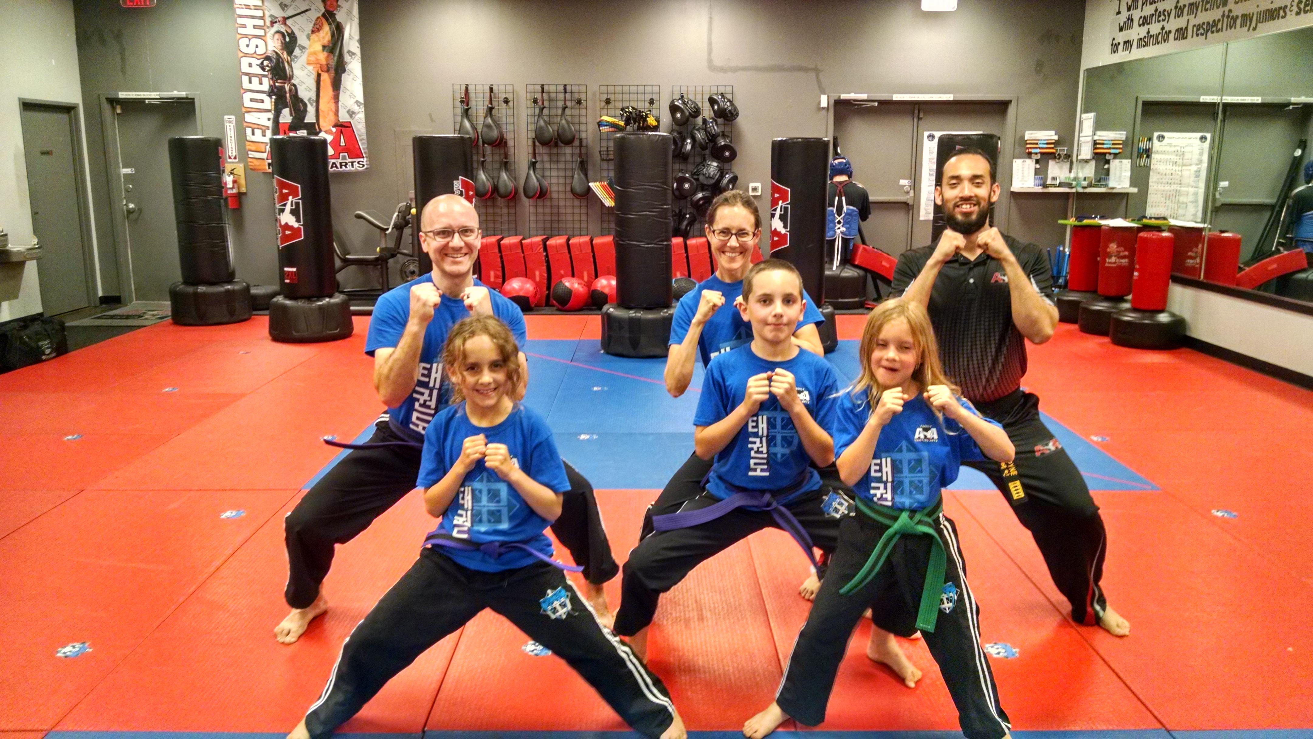 Our family at the Taekwondo studio.