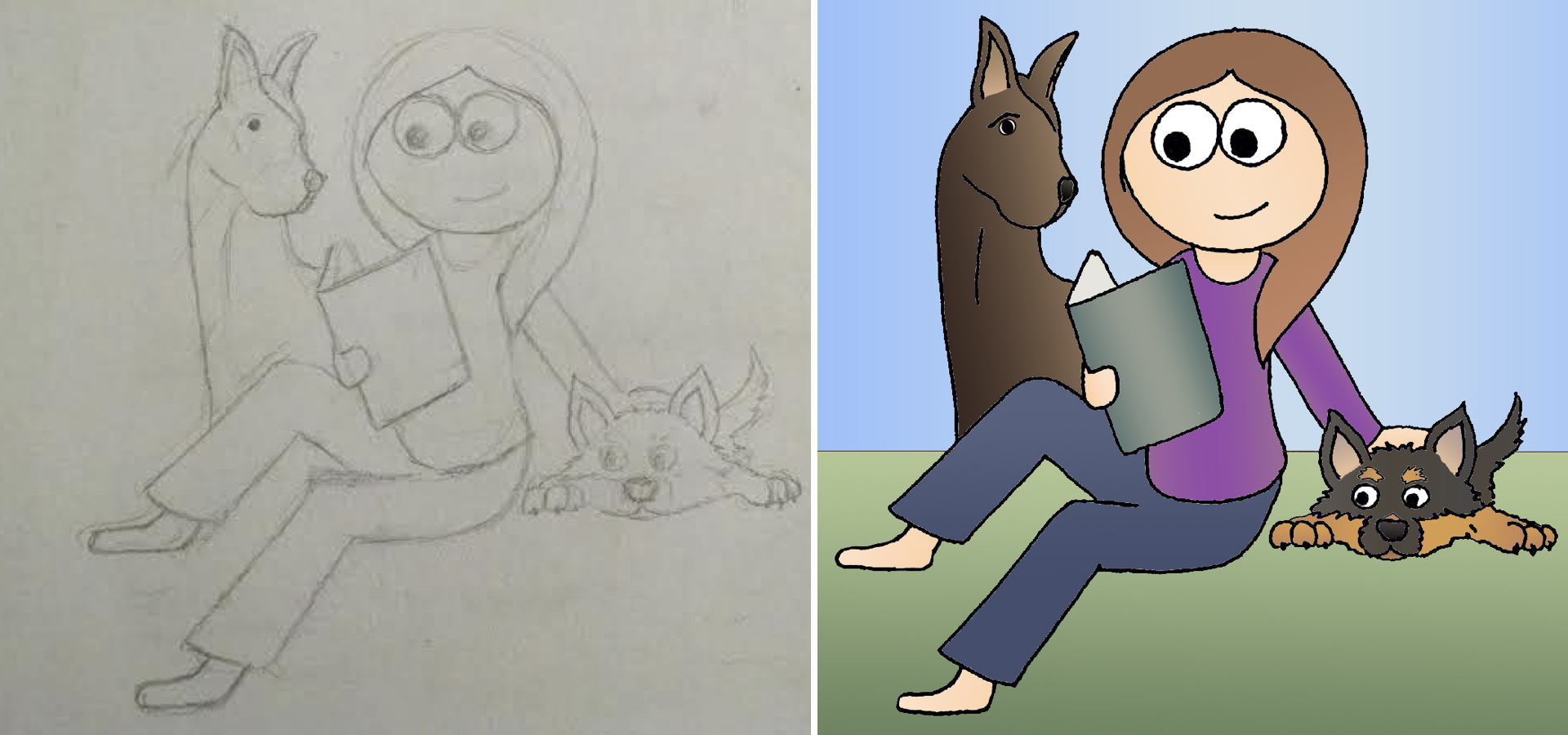 A drawing before and after being inked and colored.