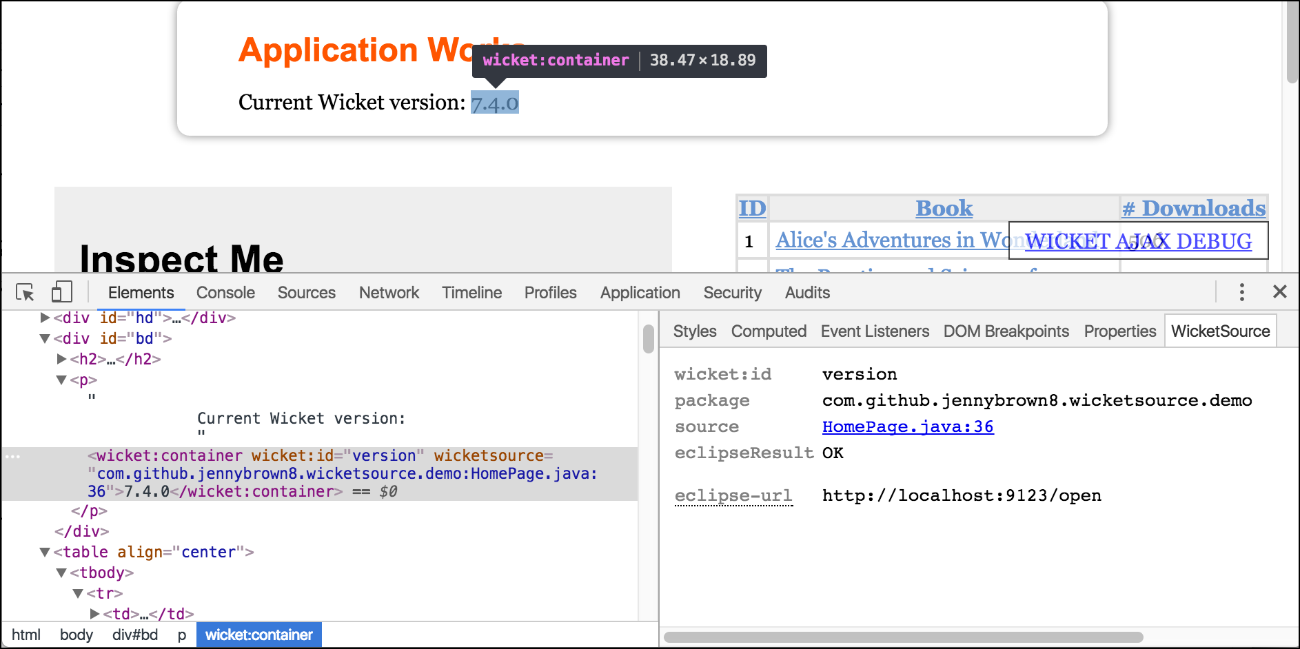 WicketSource Chrome