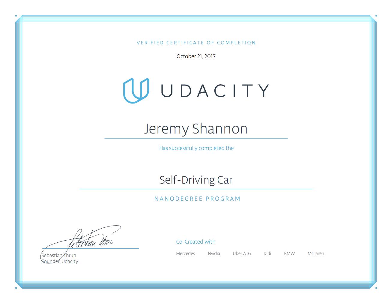 SDCND Certificate