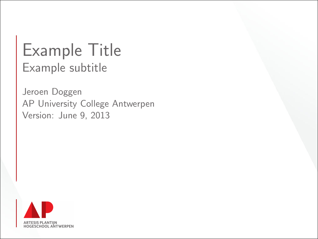 jeroen doggen latex beamer template ap university college antwerp a title page