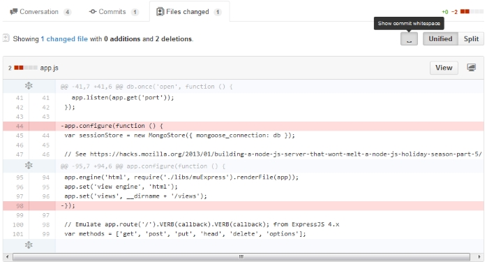 Github Commit Whitespace screenshot after