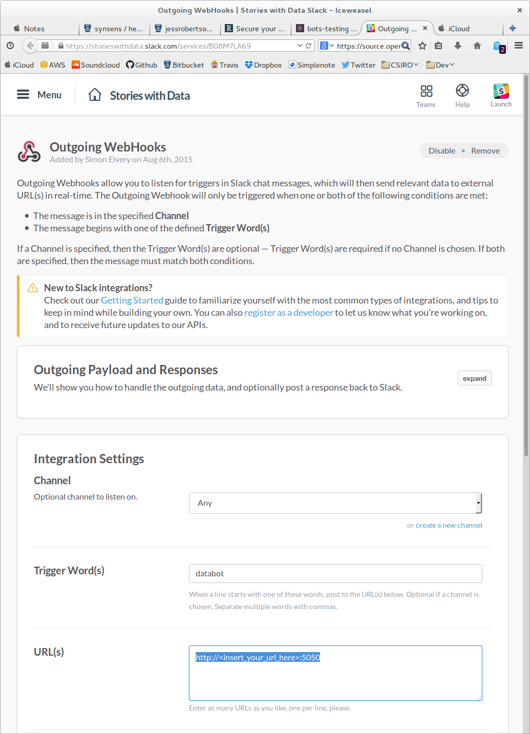 Slack Outgoing Webhooks Integration Page