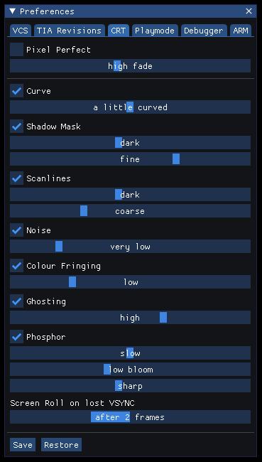 crt preferences tab