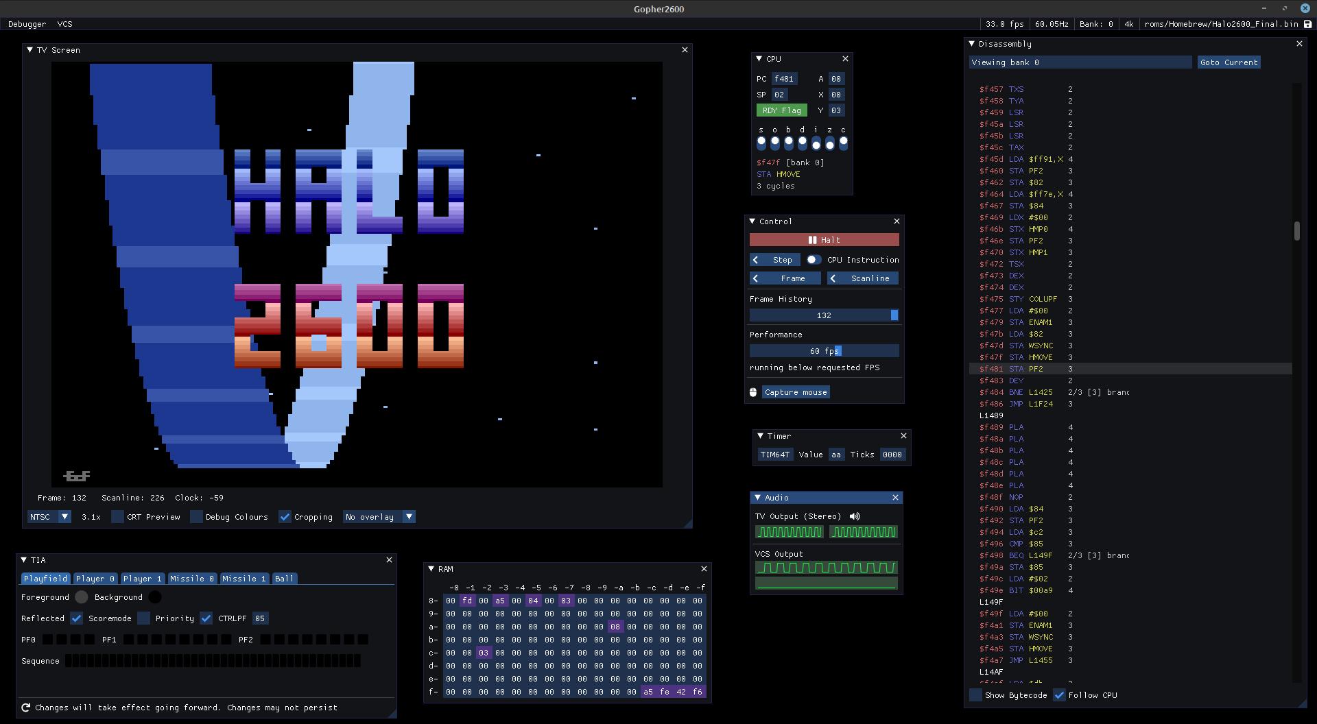 gopher2600 debugging GUI