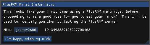 plusrom cartridges ask for a username