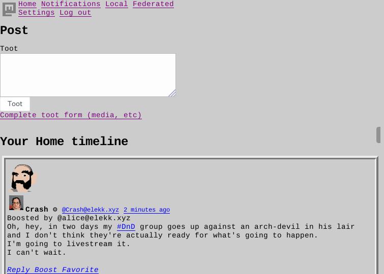 Brutaldon in Firefox - Full Brutalism