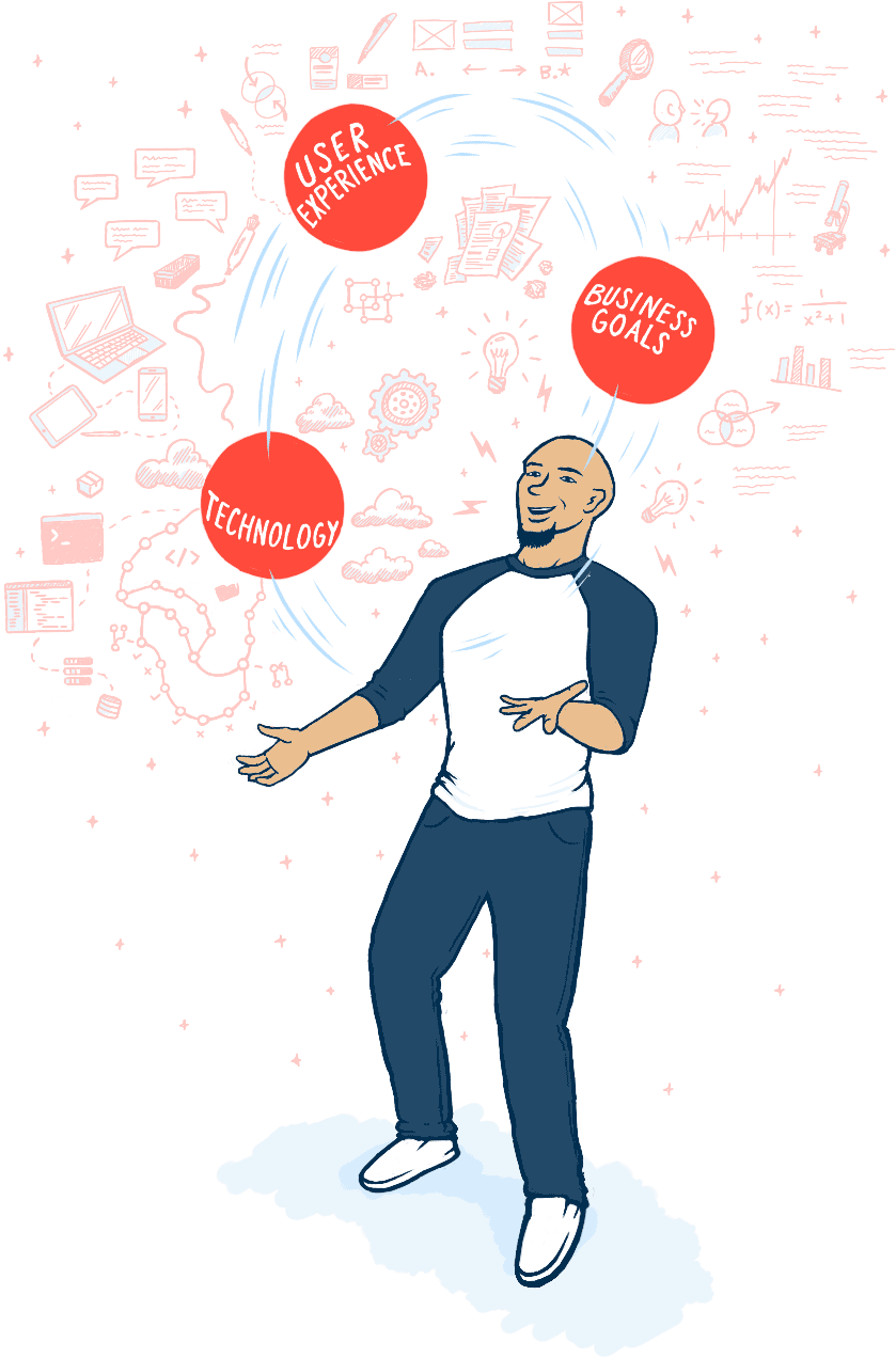 Cartoon illustration of Joel juggling balls that represent user experience, business goals, and technology