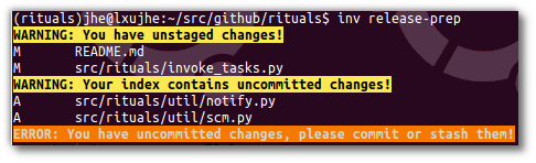 uncommitted changes