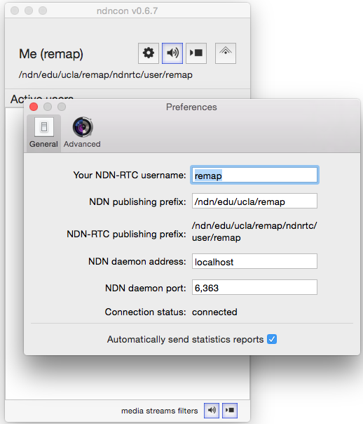 ndncon Preferences window and setting button