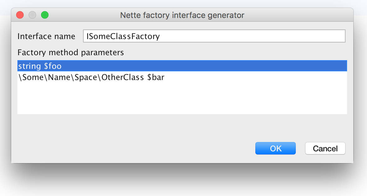 Generate factory interface dialog