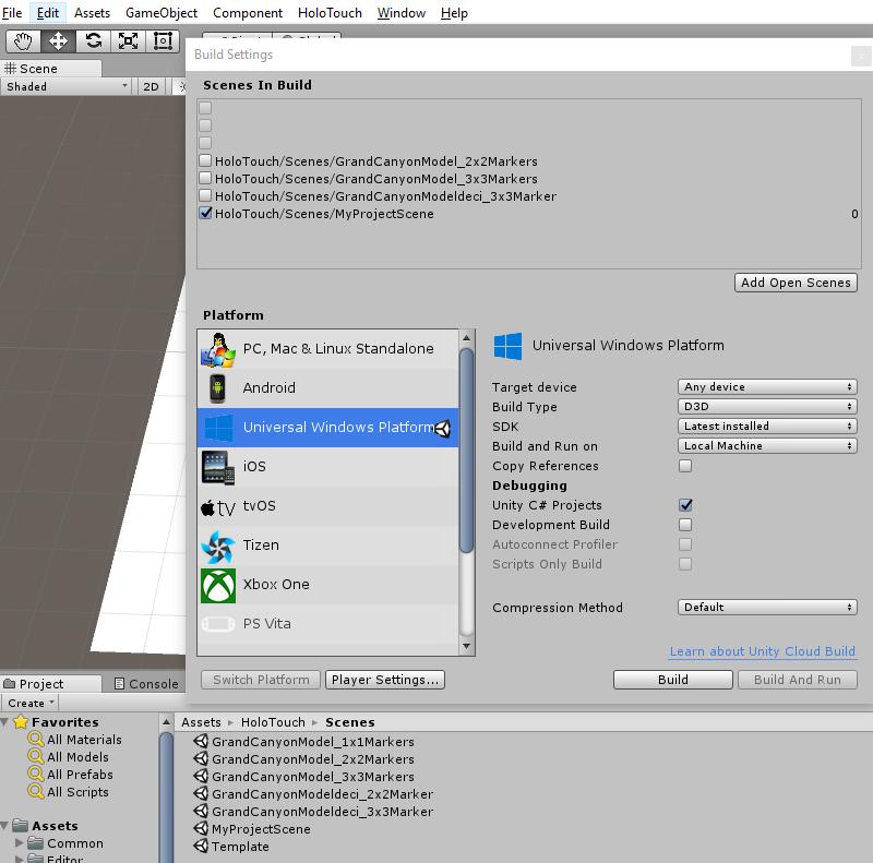 Vuforia Build Settings