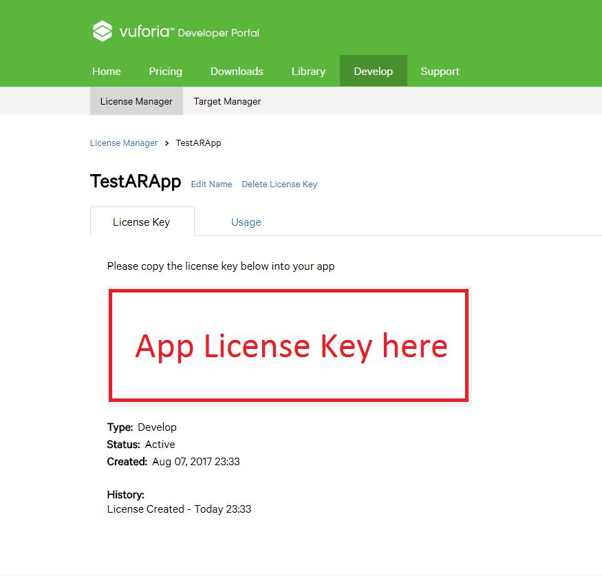 Vuforia License Key 3