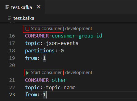 Start Consumer with a .kafka file