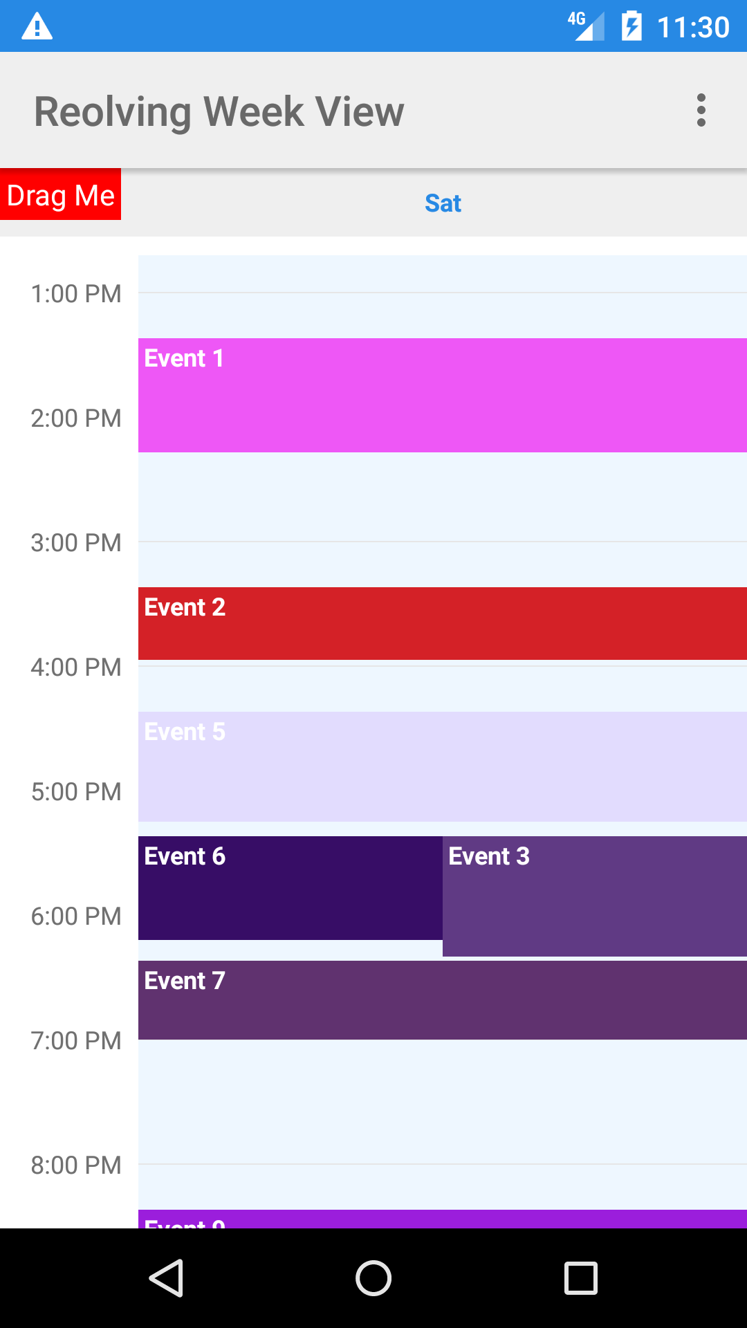 GitHub - jlurena/revolvingweekview: An Android Widget with a