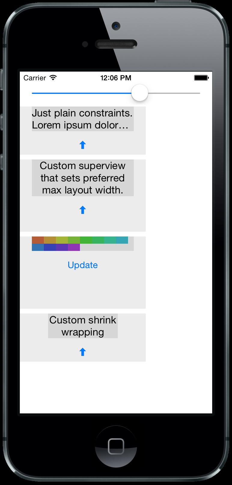 WrapDemo iPhone Simulator Screenshot