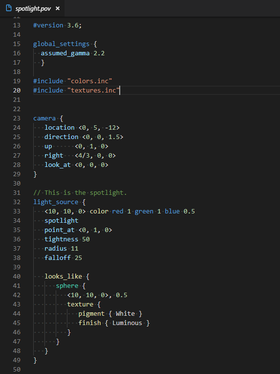 Screenshot of .pov file with syntax highlighting in VS Code