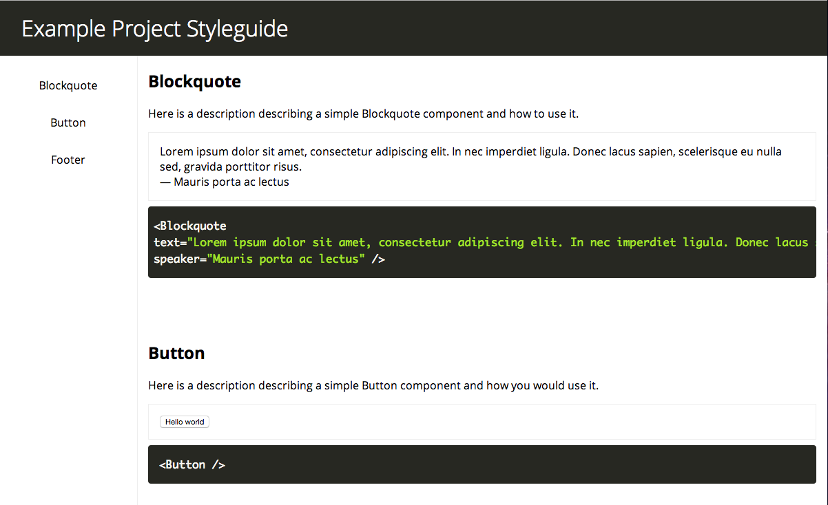 react-styleguide screenshot