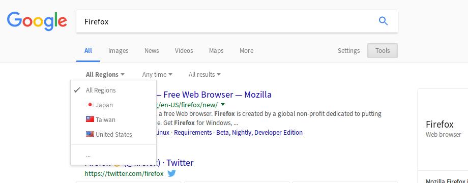 Google Search Region (Menu)