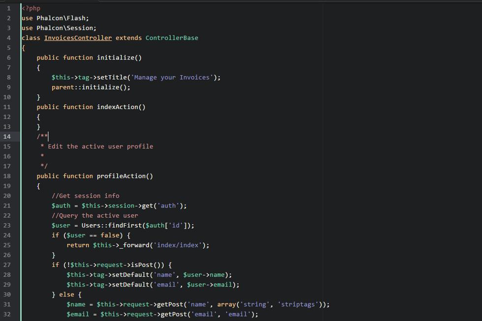 A screenshot of phalcon-syntax