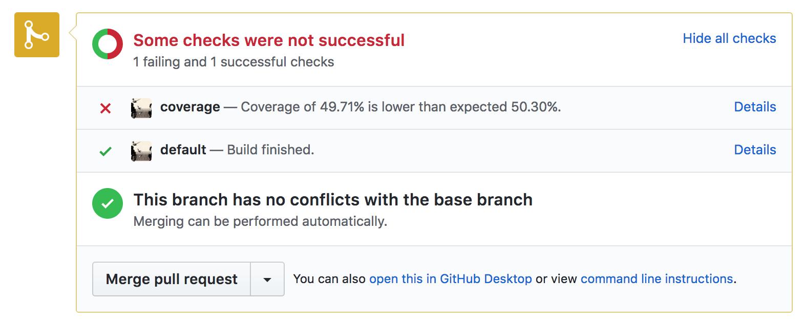 Screenshot of failure status