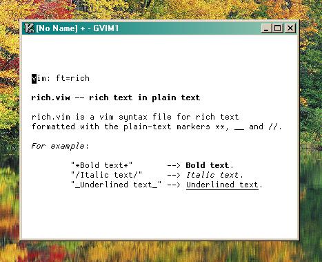 Screenshot of rich.vim