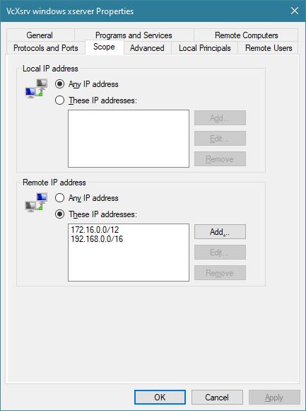 Firewall rule, scope tab