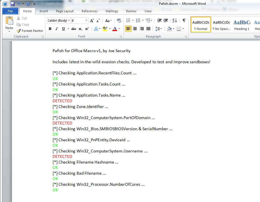 Pafish Macro screenshot