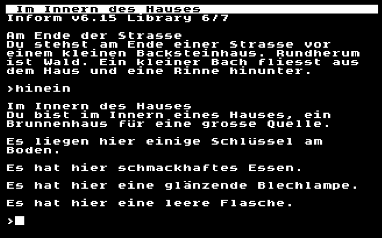 Ozmoo running a German game using a custom font with accented characters
