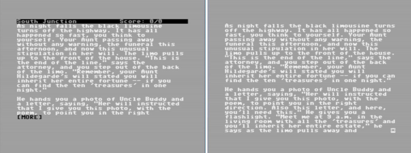Ozmoo running Hollywood Hijinx vs Infocom's interpreter running Hollywood Hijinx