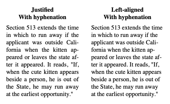 Text with hyphenation