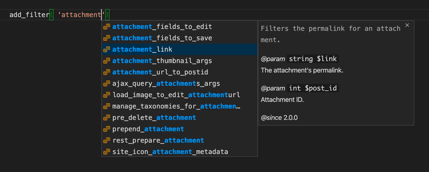 Screenshot of VS Code showing an autocomplete list for the first parameter of the add_filter function