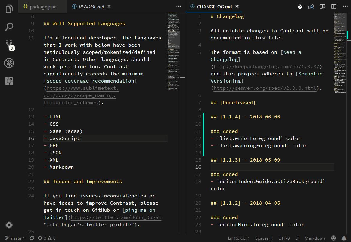 Screenshot of the VS Code Editor in Contrast