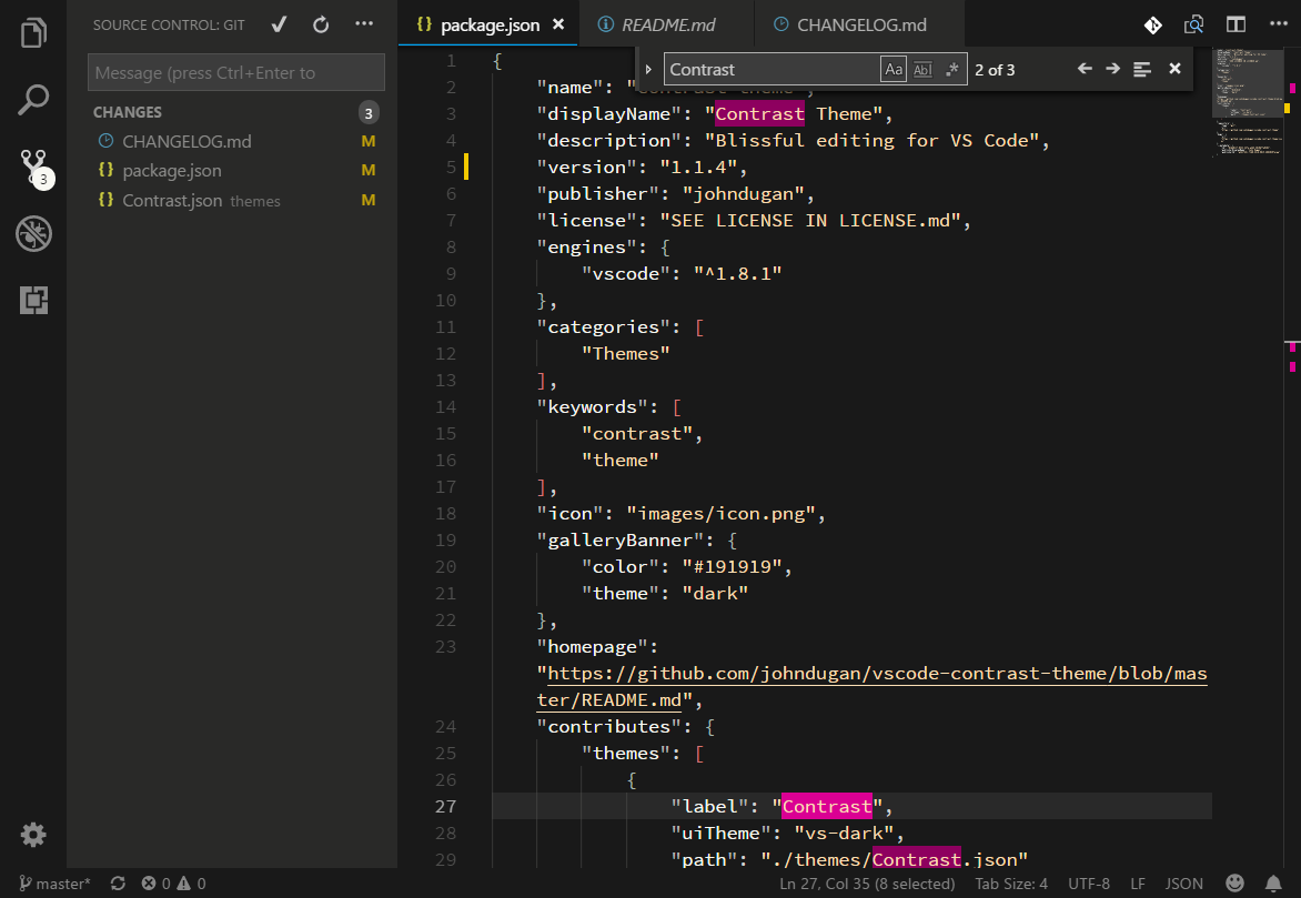 Screenshot of the VS Code Editor in Contrast