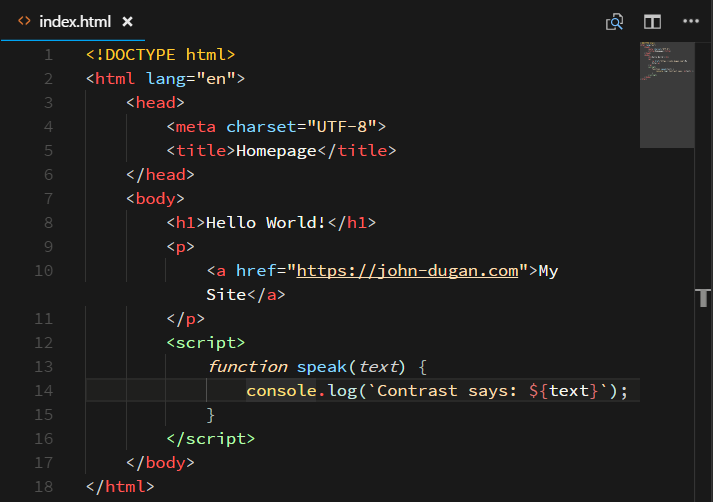 Screenshot of HTML in Contrast