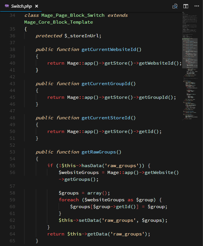 Screenshot of PHP in Contrast