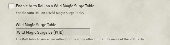 Enable Auto Roll on a Wild Magic Surge Table