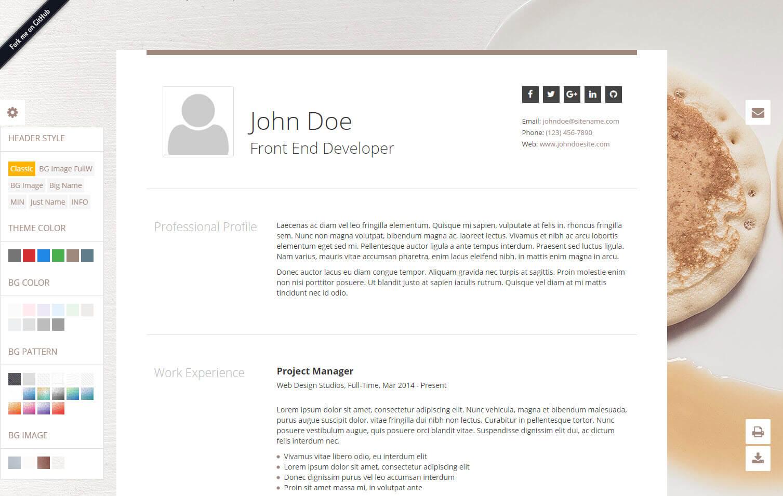 github  classic  resume html