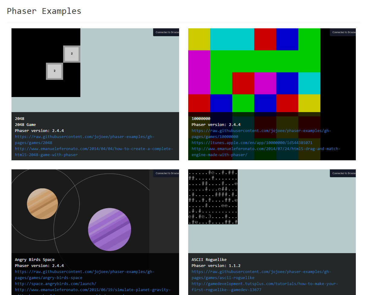 Github Jojoeephaser Examples Game Collections Made By Phaser