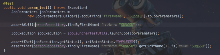 실패한 테스트 코드