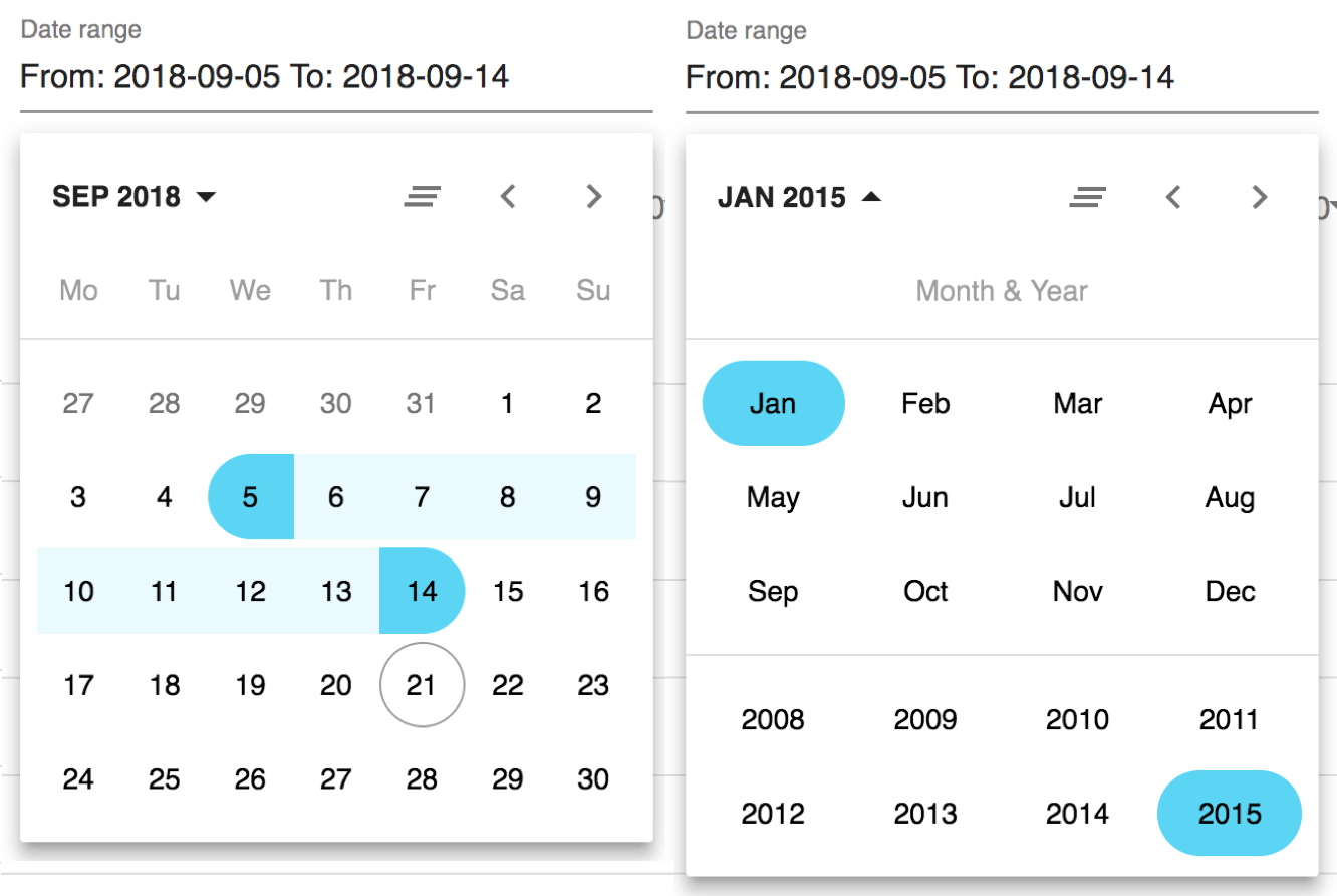 Image showing the date picker.